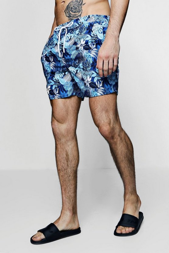 Short de bain bleu imprimé tropical