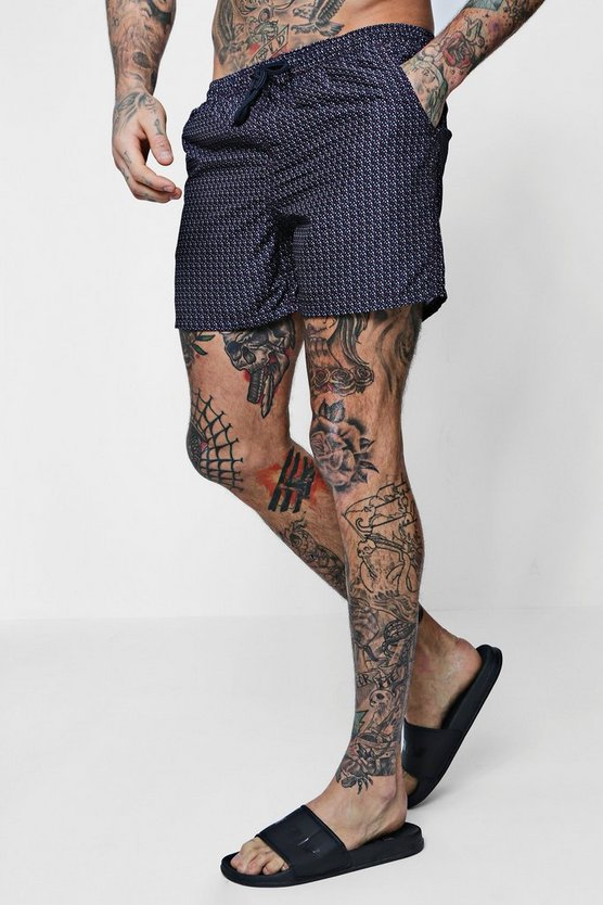 Navy Geometric Printed Swim Shorts
