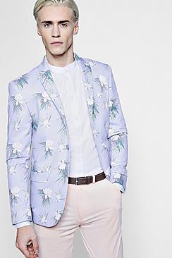 floral print skinny fit blazer