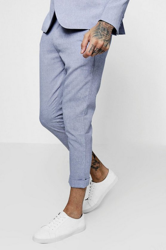 Skinny Fit Cropped Suit Trousers