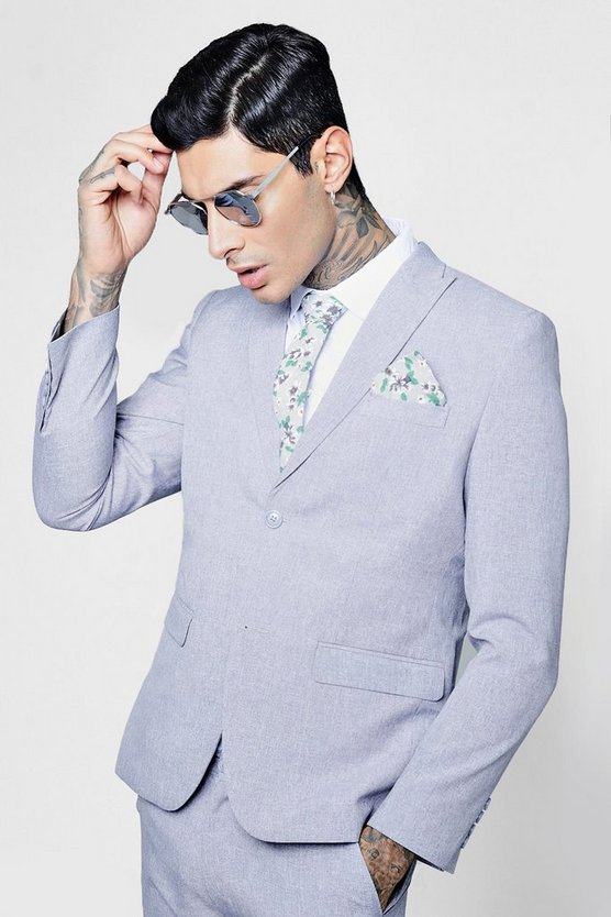 Skinny Fit Peak Lapel Suit Jacket