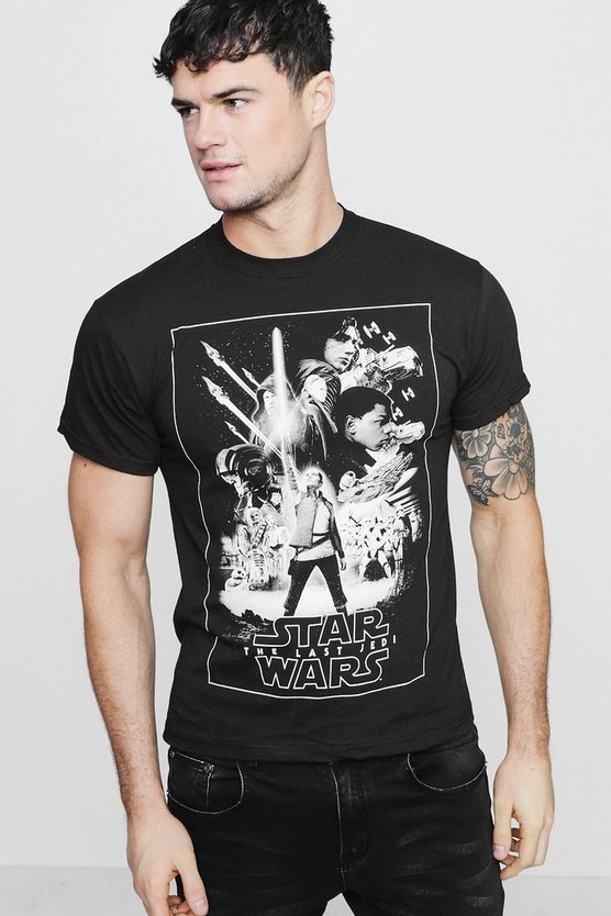 Mens Black Star Wars Mono Poster License T-Shirt