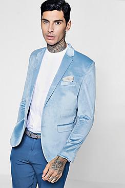 velvet skinny fit blazer