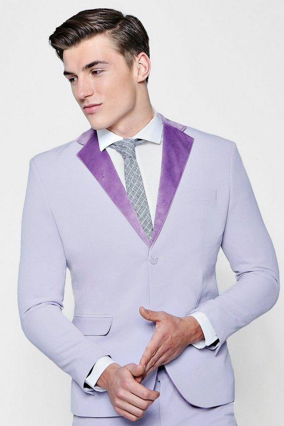 Mens Lilac Skinny Fit Suit Jacket With Velvet Lapel