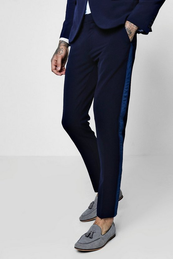Mens Navy Skinny Fit Suit Trouser With Velvet Taping
