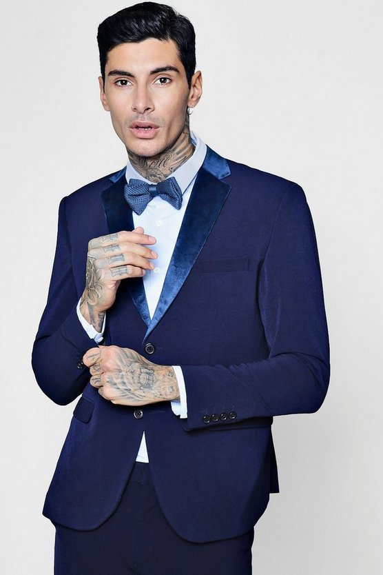 Mens Navy Skinny Fit Suit Jacket With Velvet Lapel
