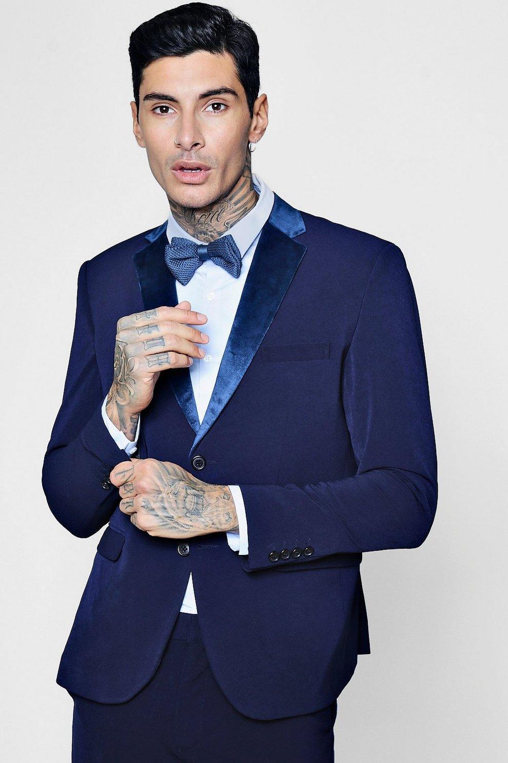 20bb23fff5cda Mens Navy Skinny Fit Suit Jacket With Velvet Lapel