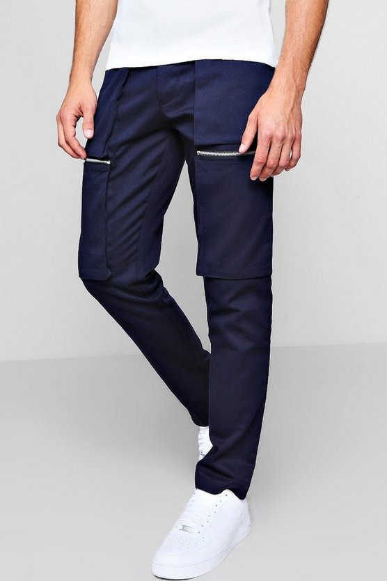Zip Cargo Trouser in Slim Fit