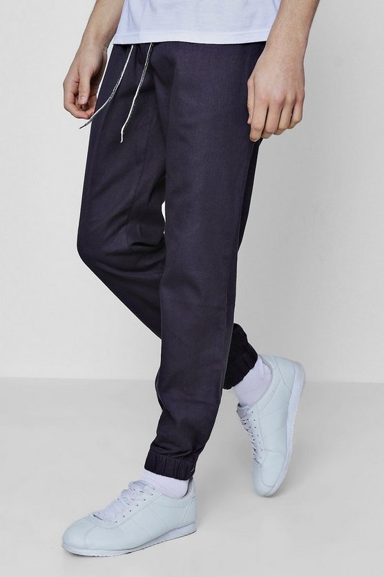 Mens Khaki Slim Fit Woven Jogger with Contrast Drawcord