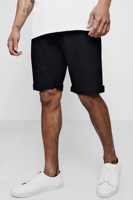 Mens Black Straight Fit Chino Short