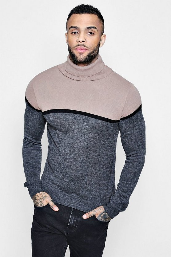 Colour Block Knitted Roll Neck Jumper