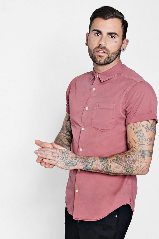 Dusky Pink Garment Dyed Short Sleeve Shirt
