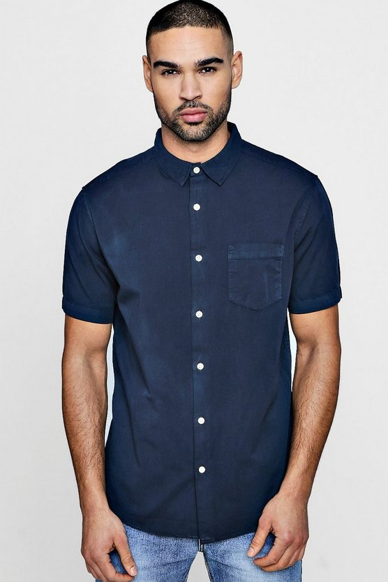 Navy Garment Dyed Short Sleeve Shirt