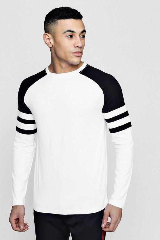 Long Sleeve Sports Stripe Contrast T-Shirt