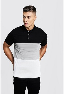 Mens Silver Colour Block Short Sleeve Polo Shirt