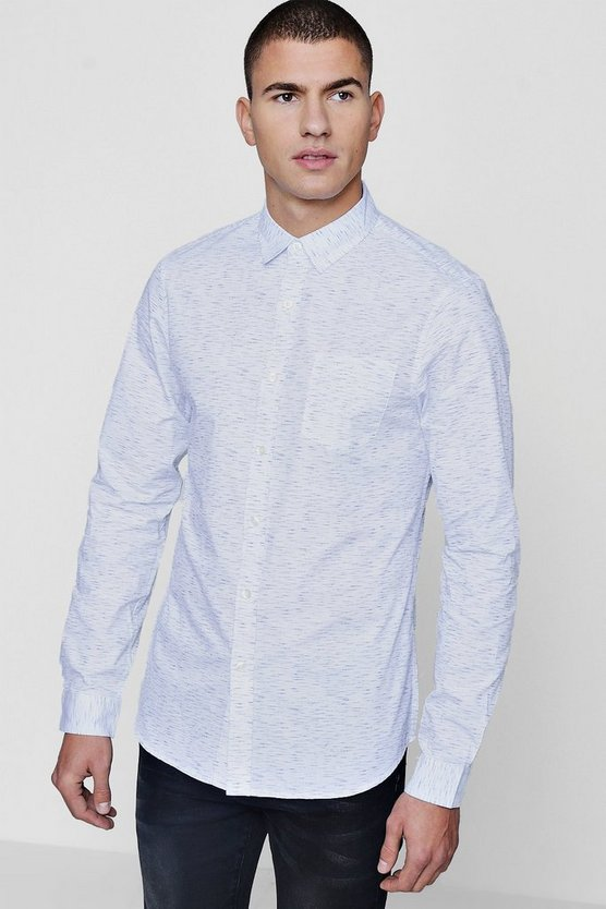 White Slub Long Sleeve Shirt