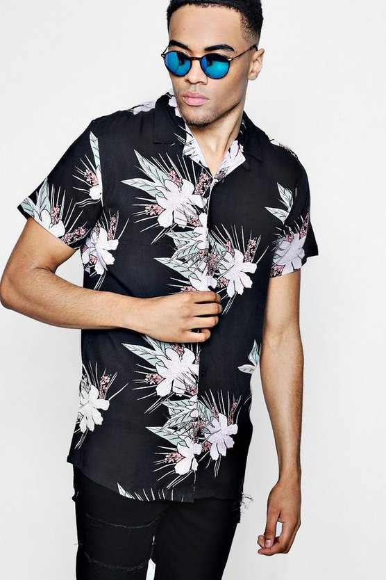Short Sleeve Tropical Print Revere Collar Shirt