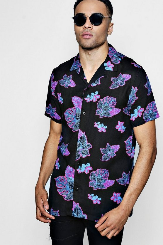Black Short Sleeve Contrast Leaf Print Revere Shirt