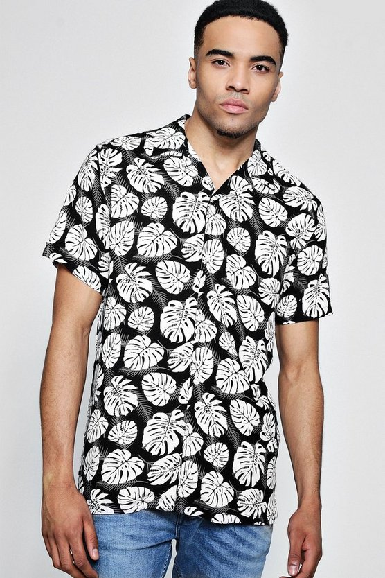 Black Short Sleeve Tropical Print Shirt