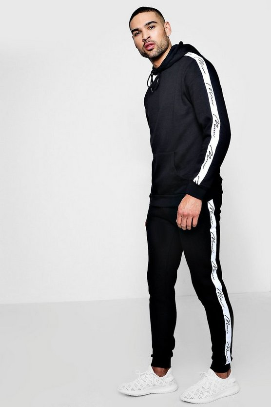 Skinny Fit MAN Signature Tape Hooded Tracksuit