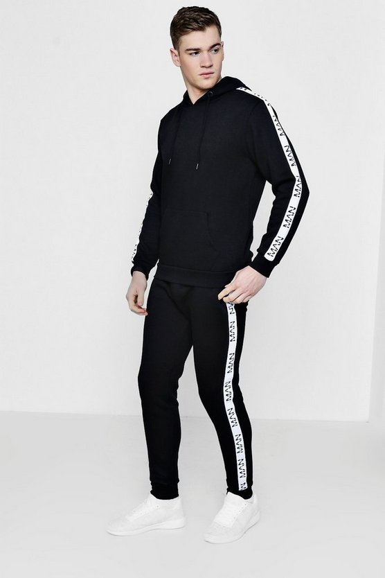 Skinny Fit MAN Dash Tape Hooded Tracksuit