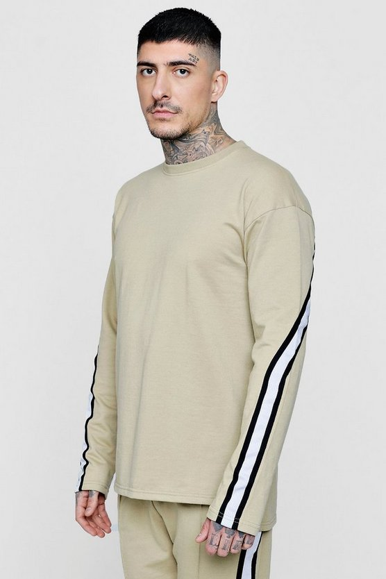 Drop Shoulder Taped Crew Neck Sweater