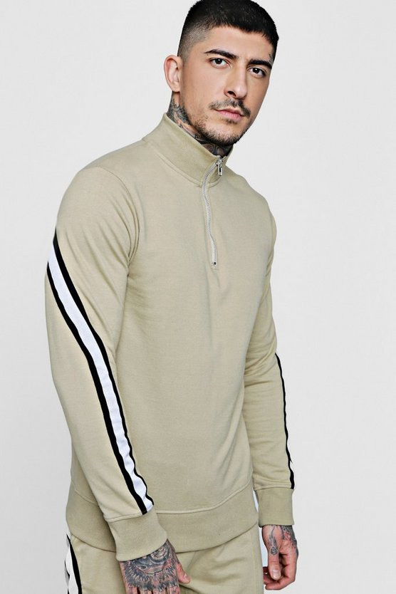 Sports Stripe Funnel Neck Jersey Track Top