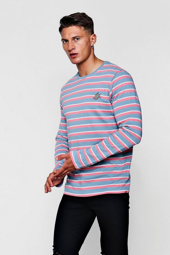 Long Sleeve Stripe T Shirt With Embroidery by Boohoo Man