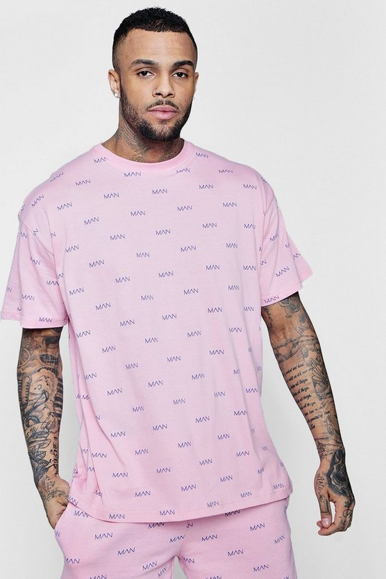 Oversized MAN All Over Print T-Shirt Co-ord