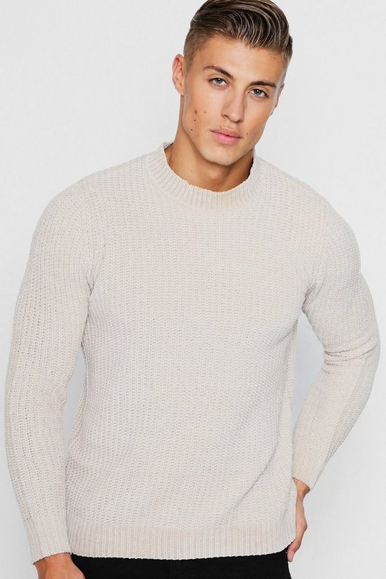 Mens Camel Chenille Turtle Neck Jumper