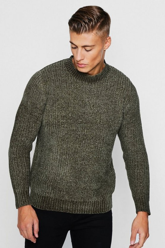 Mens Khaki Chenille Turtle Neck Jumper