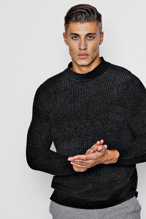 Mens Black Chenille Turtle Neck Jumper