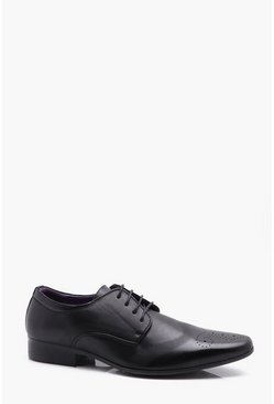 Herr Black Punched Brogue Detail Smart Shoes