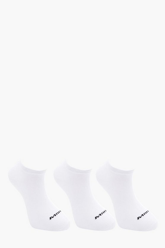 MAN 3 Pack White Trainer Socks