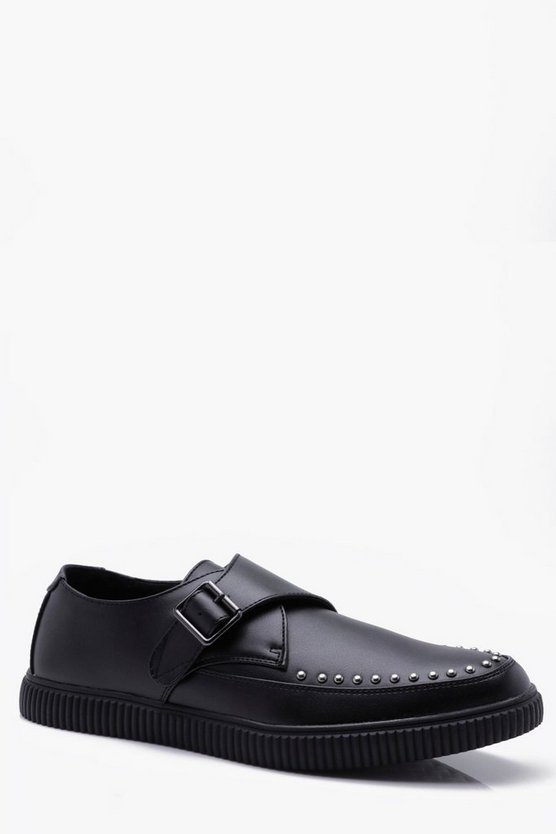 Studded PU Monk Strap Creeper