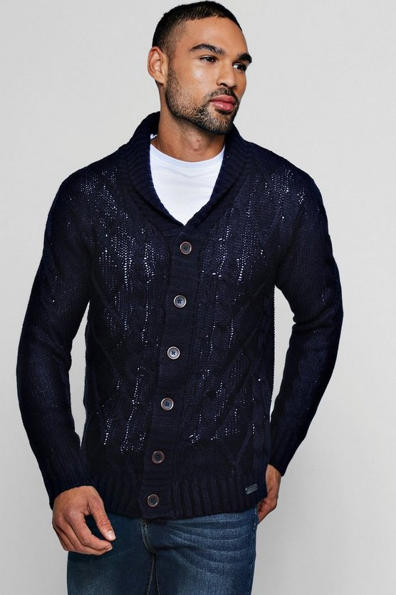 Shawl Collar Cable Knit Cardigan