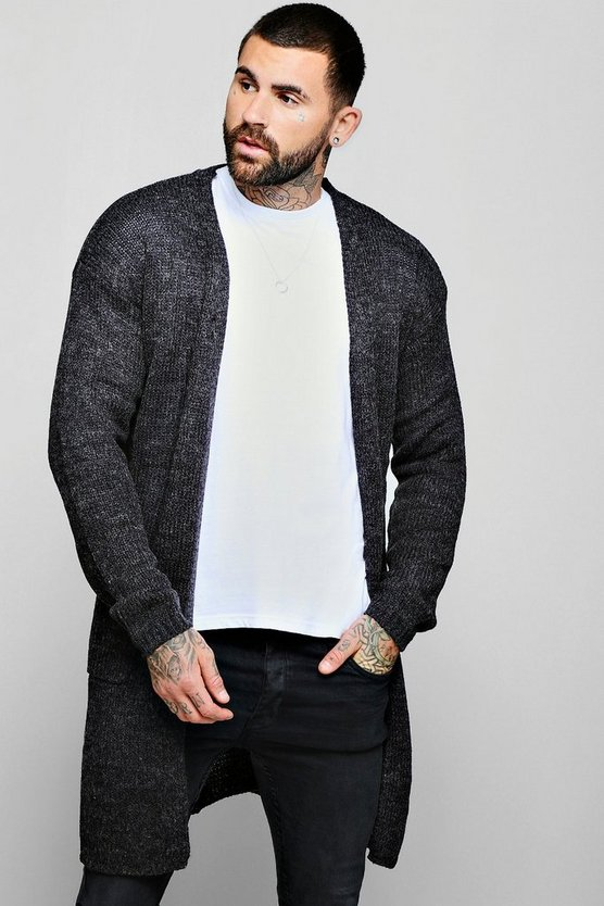 Charcoal Longline 2 Pocket Knitted Cardigan