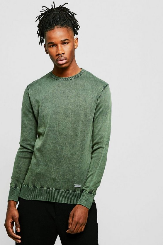 Mens Crew Neck Acid Wash Jumper