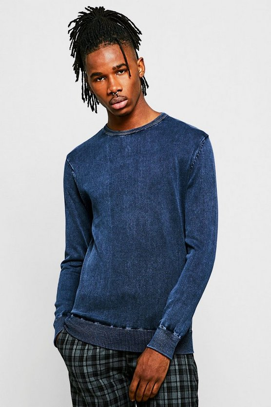 Crew Neck Acid Wash Sweater