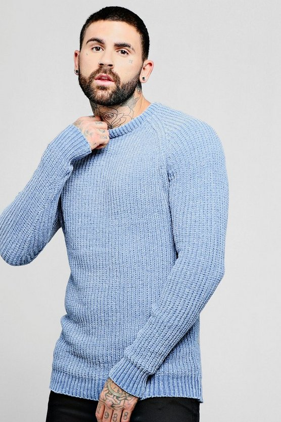 Mens Blue Chenille Raglan Long Sleeve Jumper