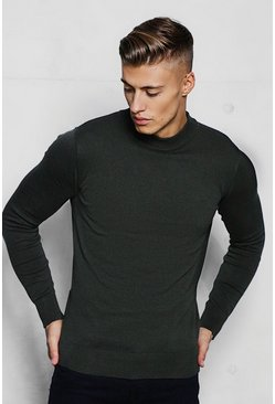 Herr Khaki Fine Knit Turtle Neck Jumper