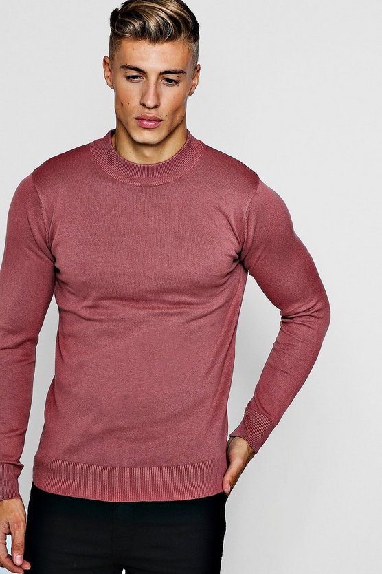 Mens Pink Fine Knit Turtle Neck Jumper