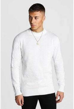 Mens Ecru Fine Knit Jumper
