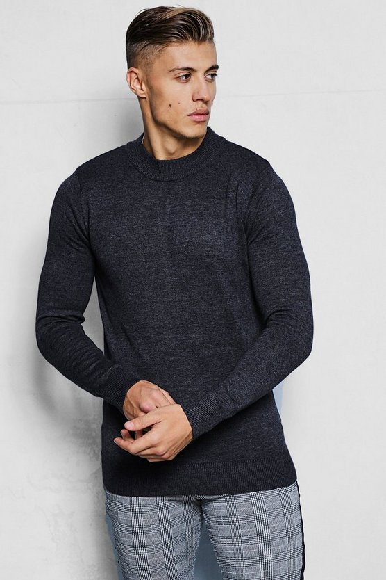 Mens Charcoal Fine Knit Turtle Neck Jumper