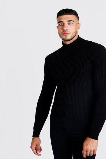 Mens Black Fine Knit Turtle Neck Jumper