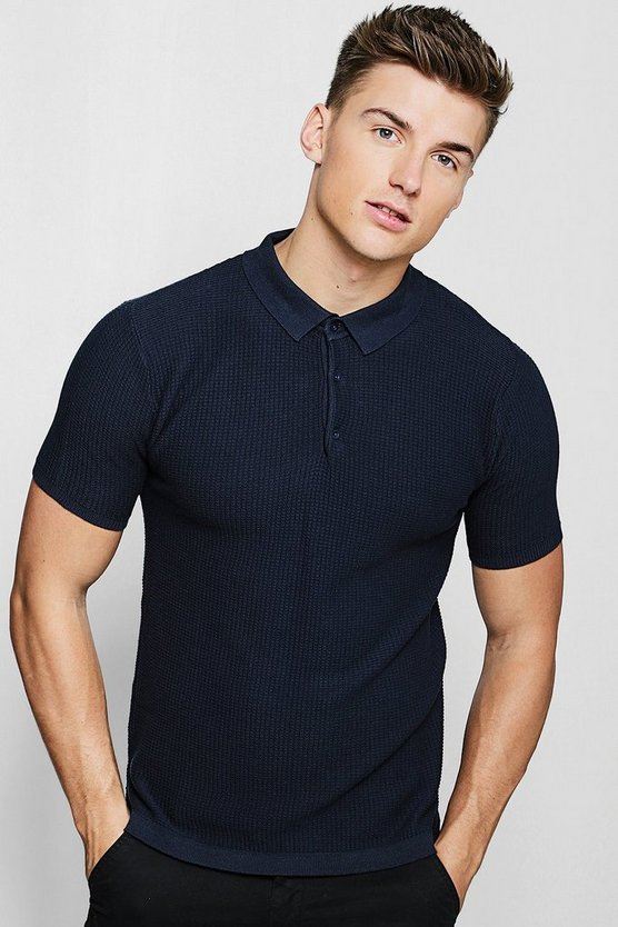 Grid Knit Short Sleeve Polo