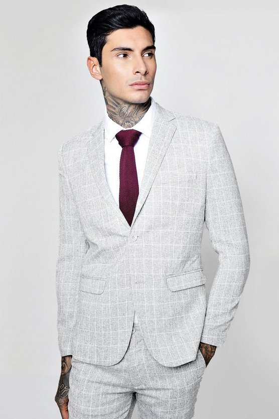 Skinny Fit Window Pane Check Suit Jacket