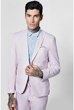 Mens Pink Slim Fit Tailored Suit Jacket