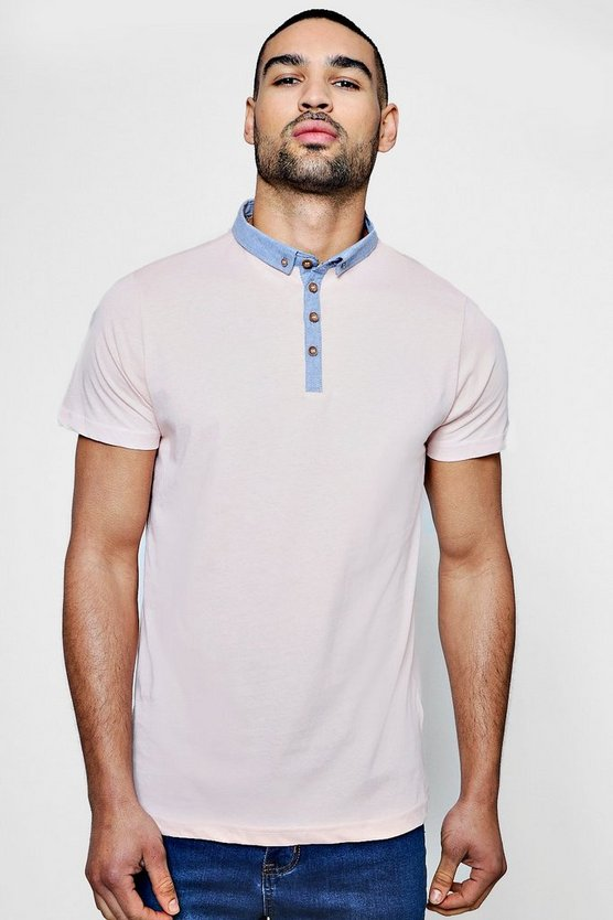 Polo-Shirt mit Chambray-Kragen