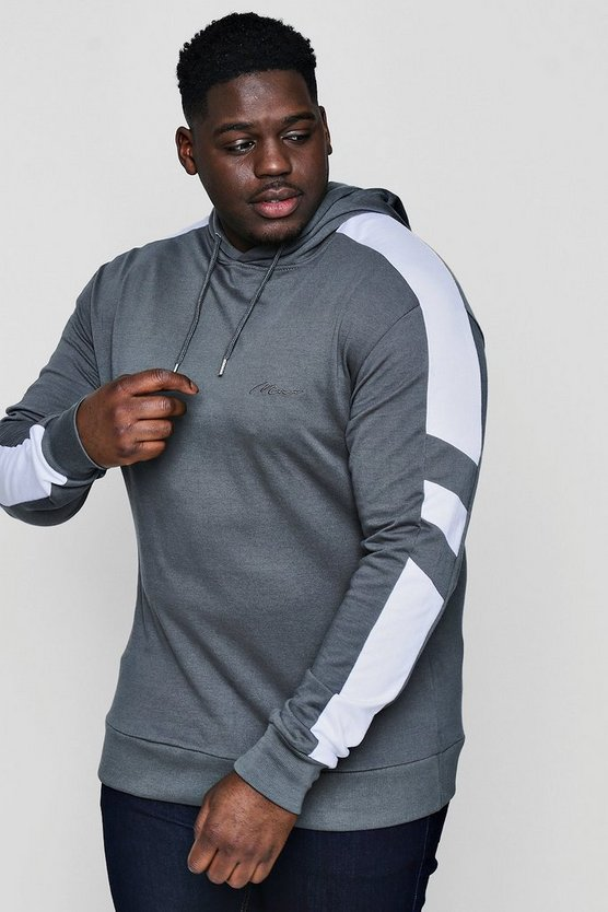 Big And Tall Panelled Skinny Fit MAN Hoodie